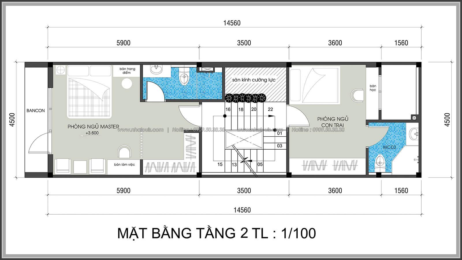 Mặt bằng tầng 2 Thiết kế nhà lệch tầng đẹp 4.5x14.5m hiện đại tại quận Tân Bình - 11