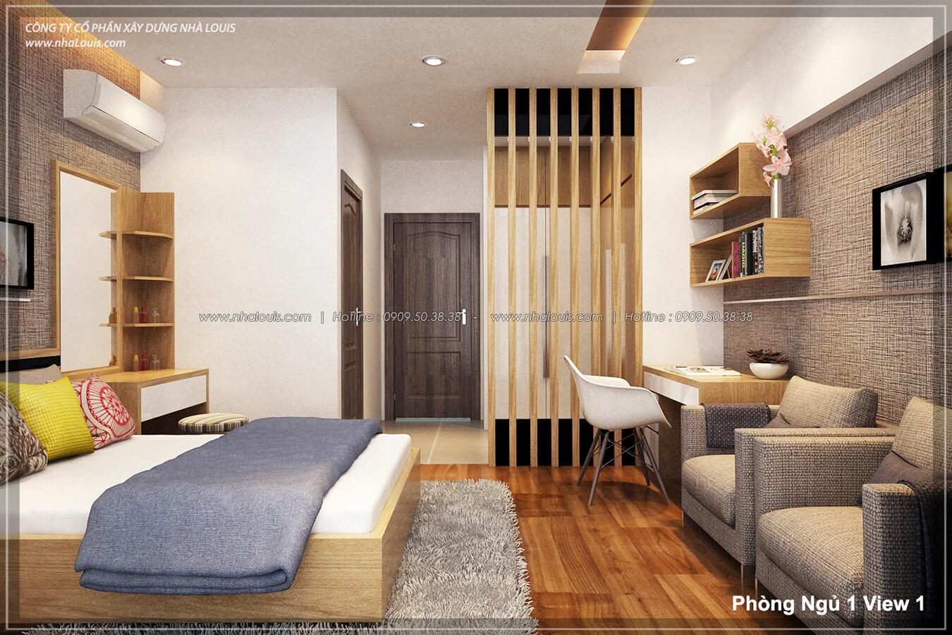 Phòng ngủ Thiết kế nhà lệch tầng đẹp 4.5x14.5m hiện đại tại quận Tân Bình - 12