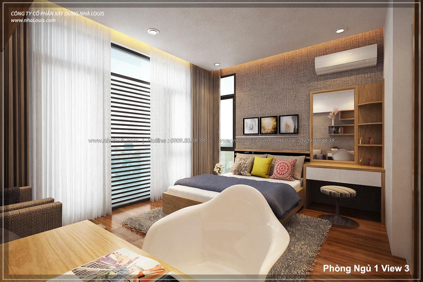 Phòng ngủ Thiết kế nhà lệch tầng đẹp 4.5x14.5m hiện đại tại quận Tân Bình - 14