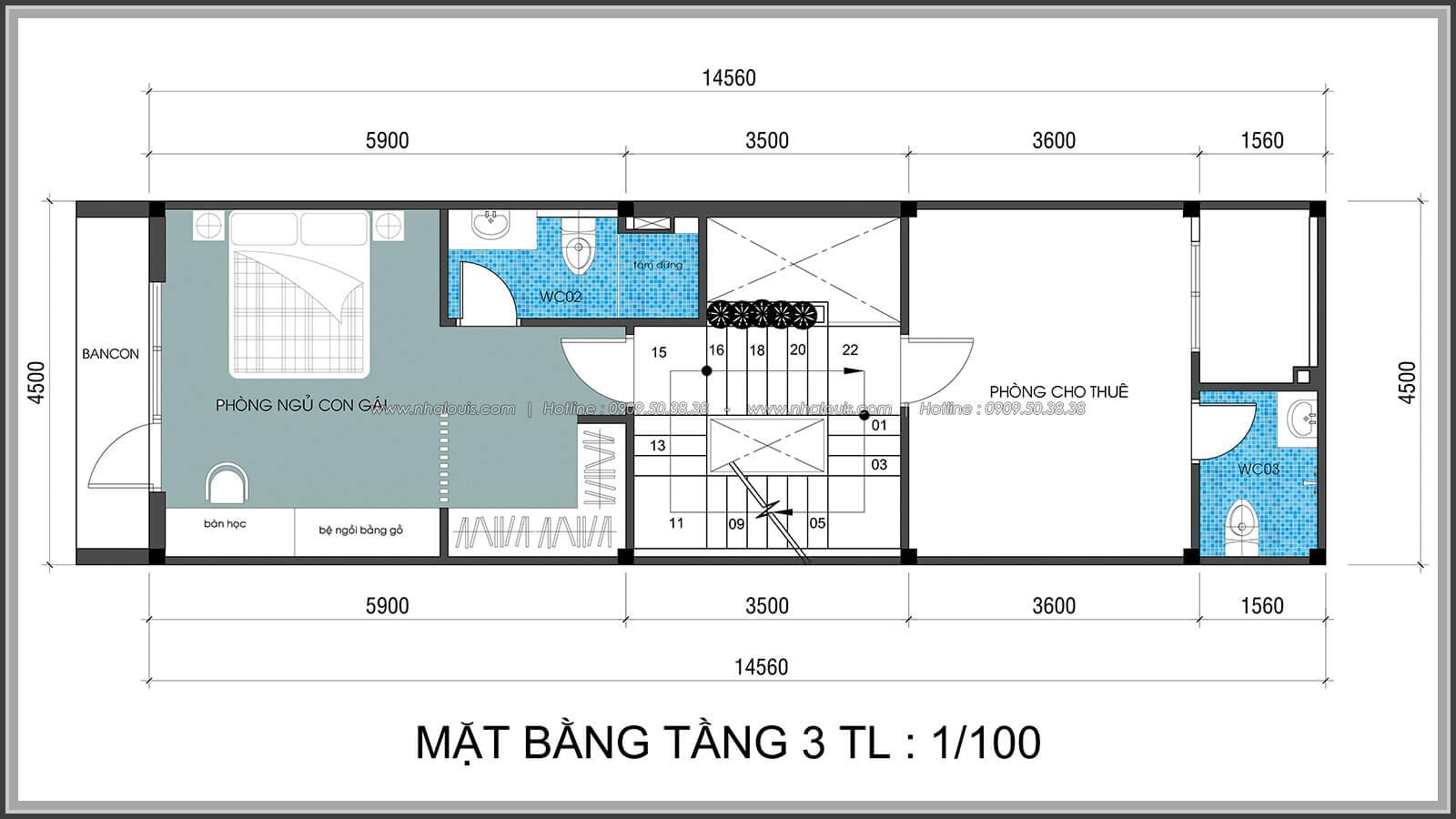 Mặt bằng tầng 3 Thiết kế nhà lệch tầng đẹp 4.5x14.5m hiện đại tại quận Tân Bình - 25