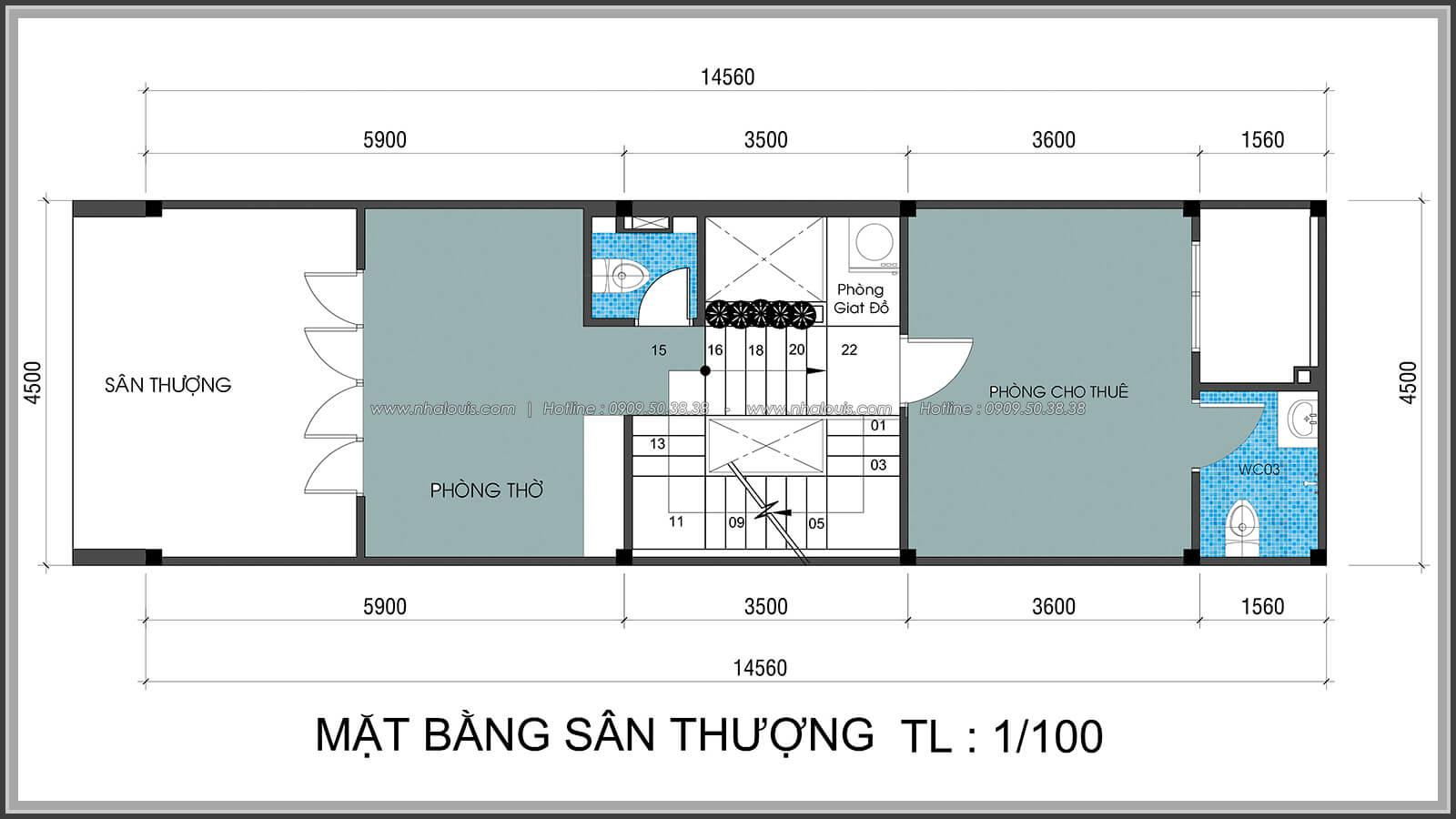 Mặt bằng sân thượng Thiết kế nhà lệch tầng đẹp 4.5x14.5m hiện đại tại quận Tân Bình - 29