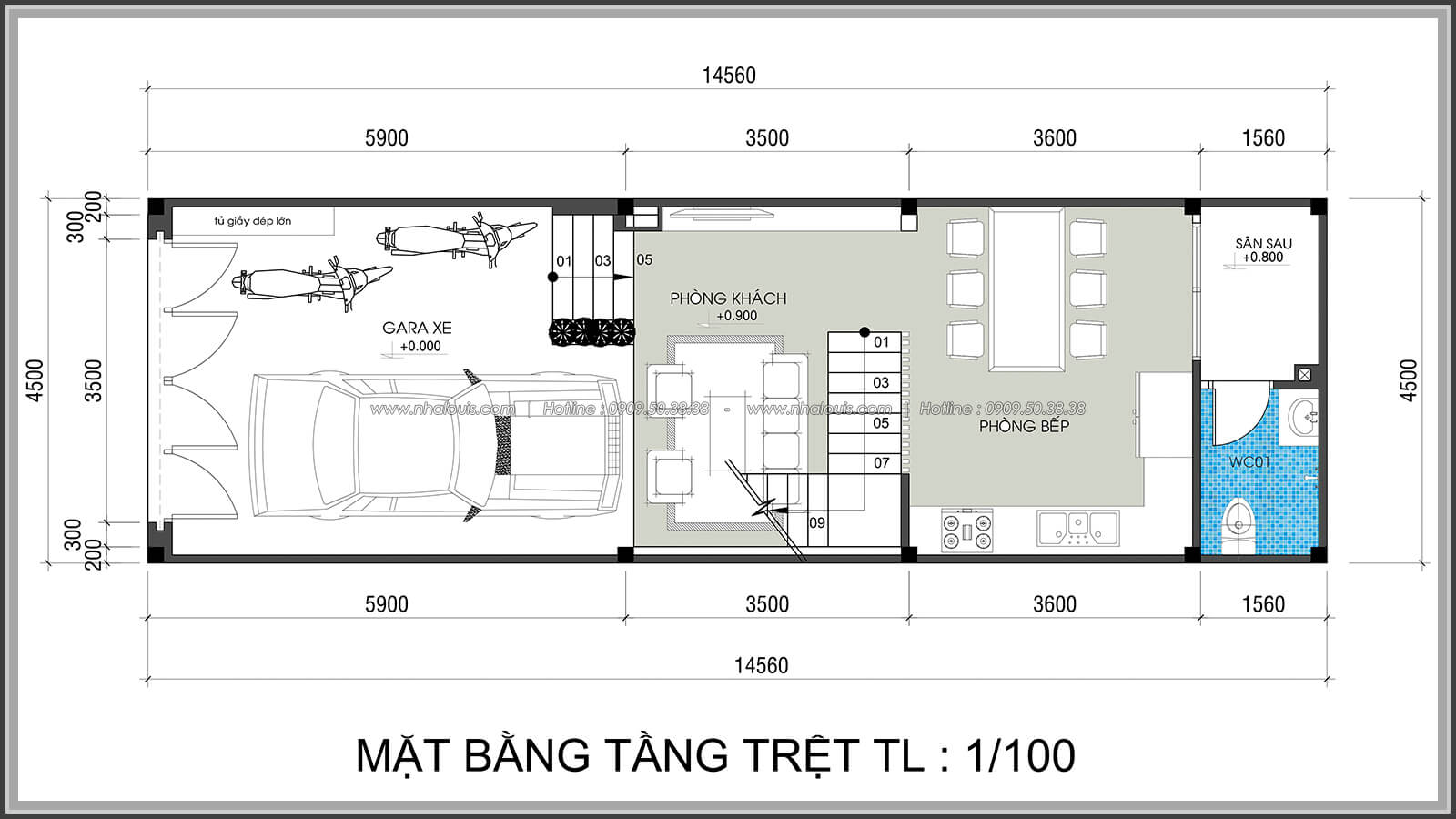 Mặt bằng thiết kế nhà lệch tầng đẹp 4.5x14.5m hiện đại tại quận Tân Bình - 3