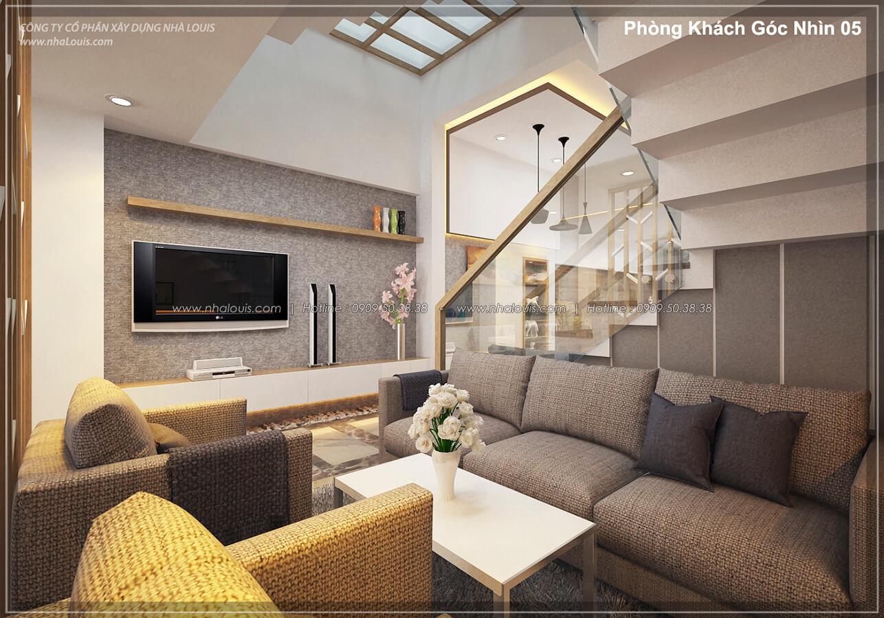 Phòng khách Thiết kế nhà lệch tầng đẹp 4.5x14.5m hiện đại tại quận Tân Bình - 5