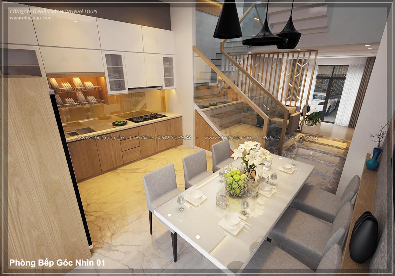 Bếp & phòng ăn Thiết kế nhà lệch tầng đẹp 4.5x14.5m hiện đại tại quận Tân Bình - 8