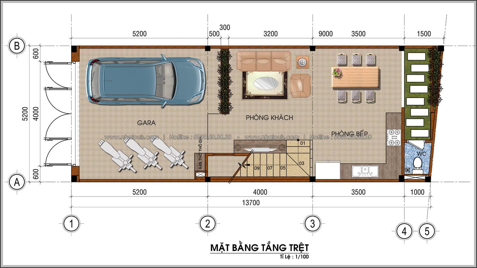 Mặt bằng tầng trệt thiết kế nhà ống mặt tiền 5m có gara ô tô tại Tân Bình - 03