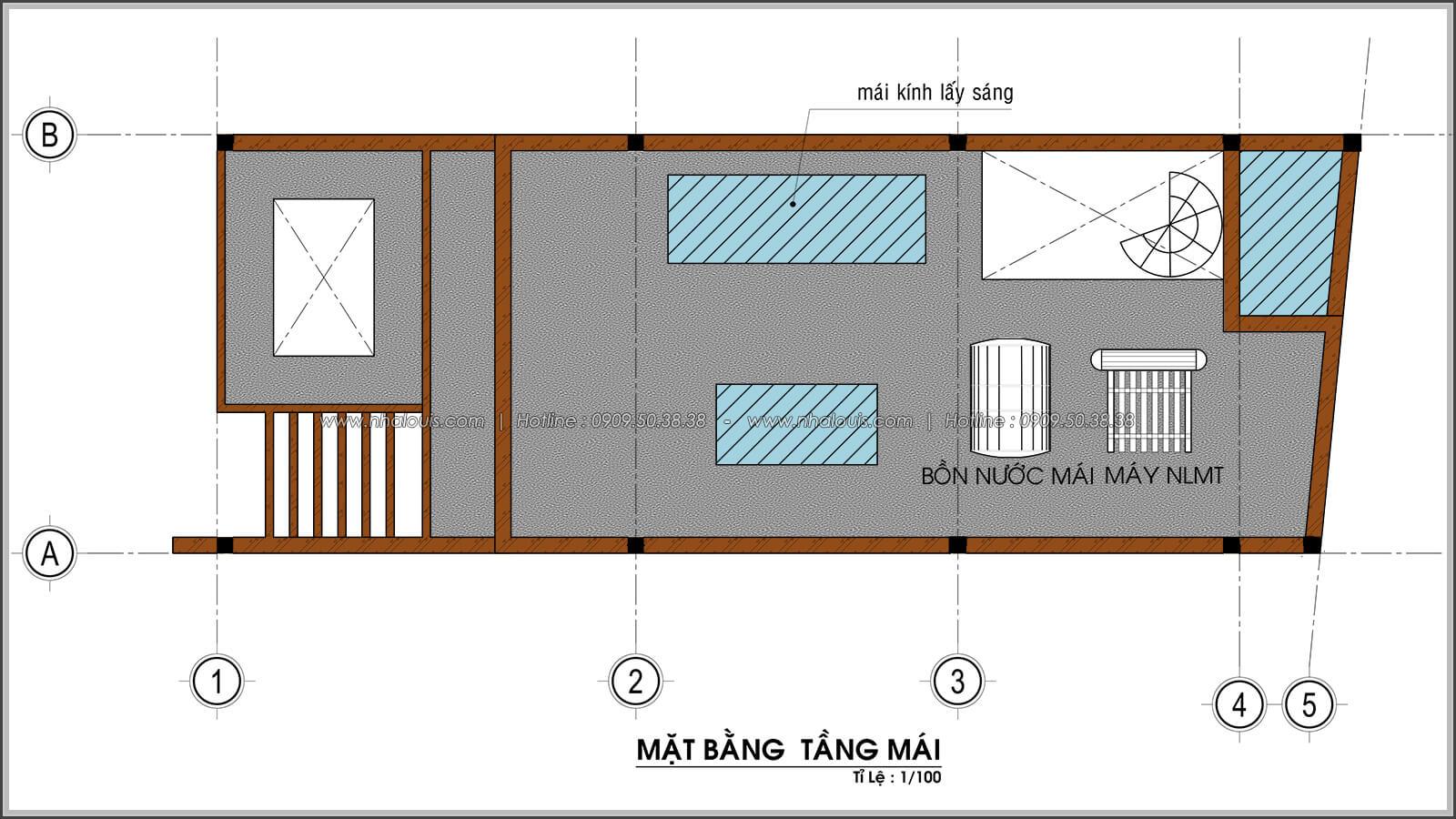 Mặt bằng mái thiết kế nhà ống mặt tiền 5m có gara ô tô tại Tân Bình - 08