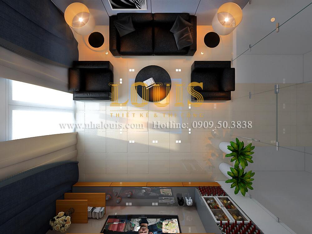 Phòng sinh hoạt thiết kế nhà ống mặt tiền 5m có gara ô tô tại Tân Bình