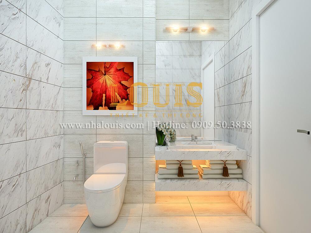 Phòng tắm & WC thiết kế nhà ống mặt tiền 5m có gara ô tô tại Tân Bình