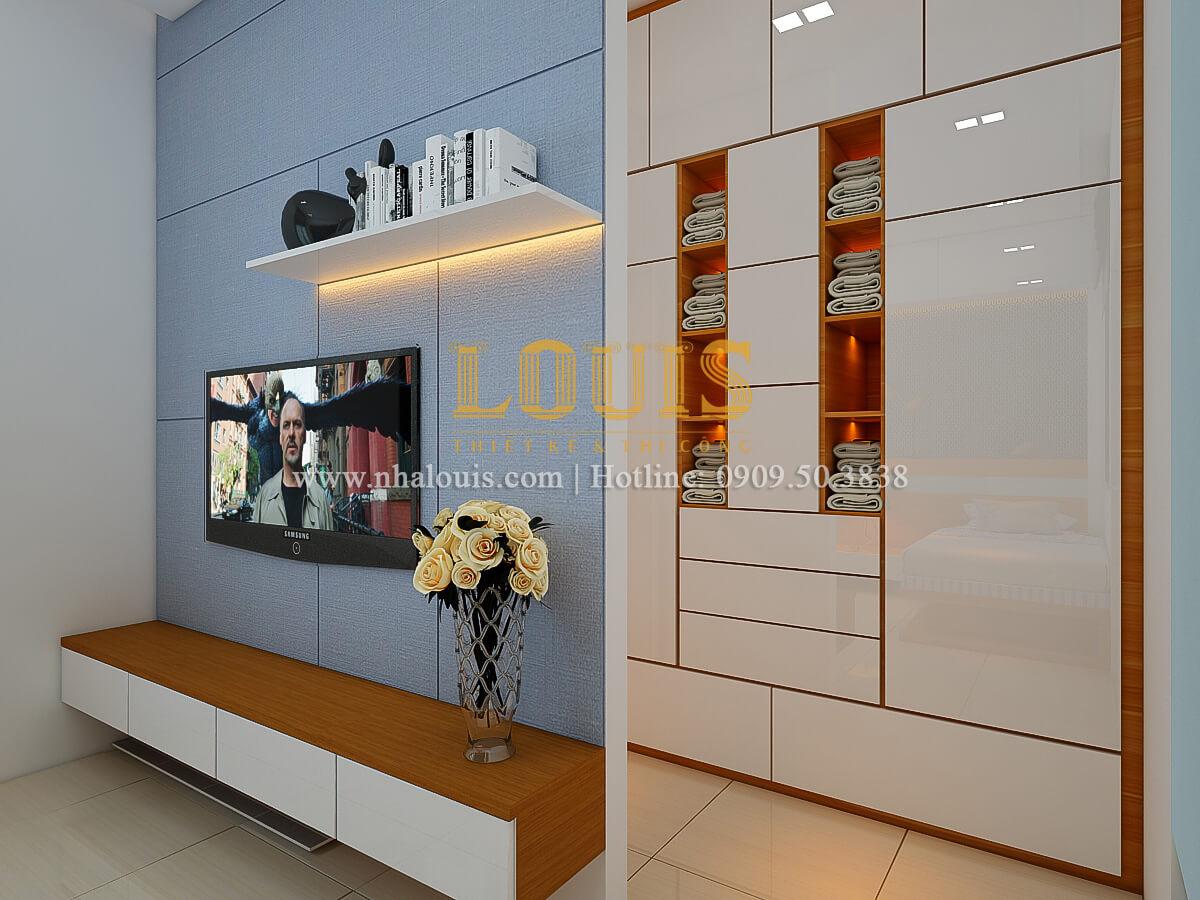 Phòng ngủ thiết kế nhà ống mặt tiền 5m có gara ô tô tại Tân Bình