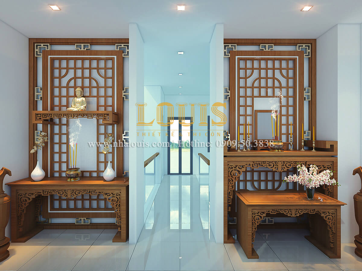 Phòng thờ thiết kế nhà ống mặt tiền 5m có gara ô tô tại Tân Bình