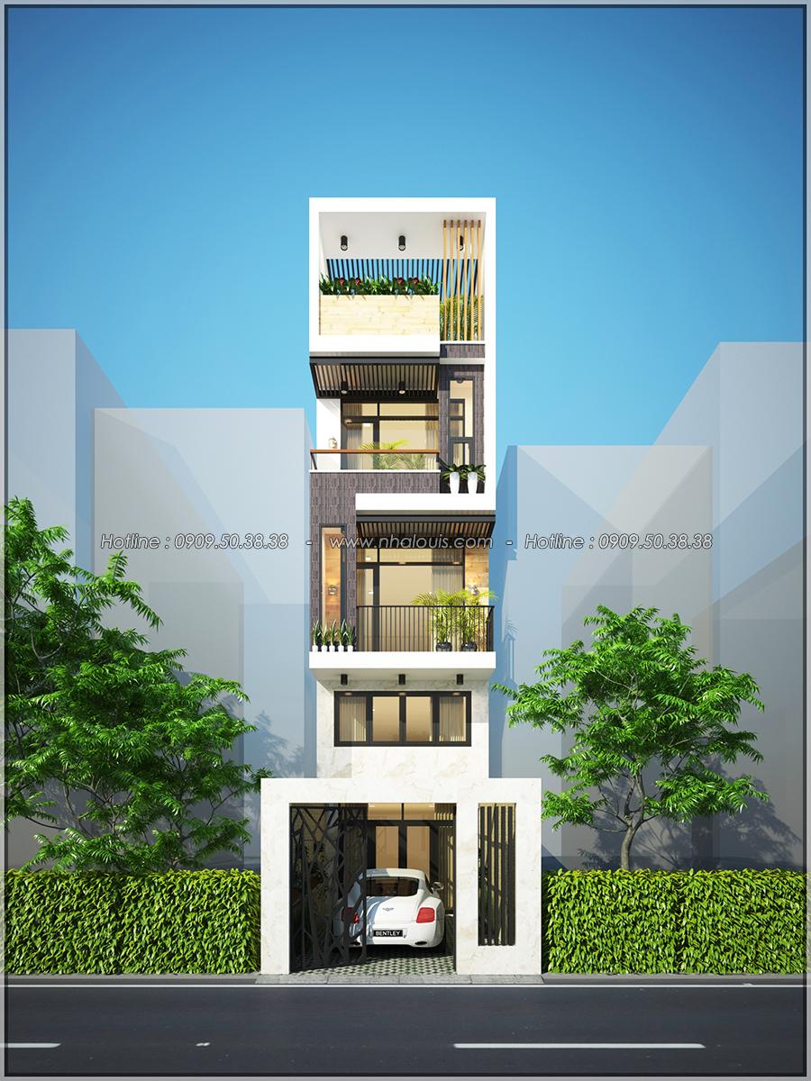 Mặt tiền Thiết kế nhà phố 3 tầng đẹp phong cách hiện đại sang trọng tại Thủ Đức - 01