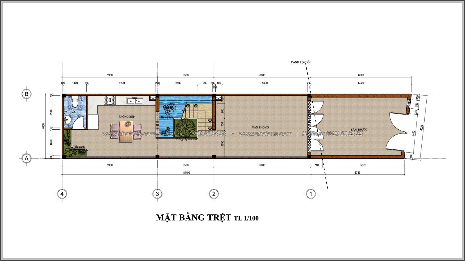 Mặt bằng tầng trệt Thiết kế nhà phố 3 tầng đẹp phong cách hiện đại sang trọng tại Thủ Đức - 03