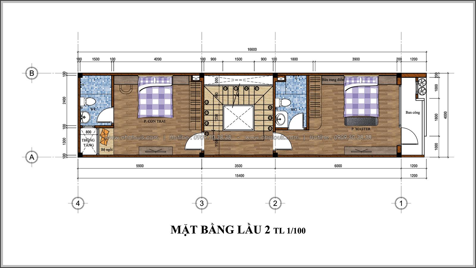 Mặt bằng lầu 2 Thiết kế nhà phố 3 tầng đẹp phong cách hiện đại sang trọng tại Thủ Đức - 06