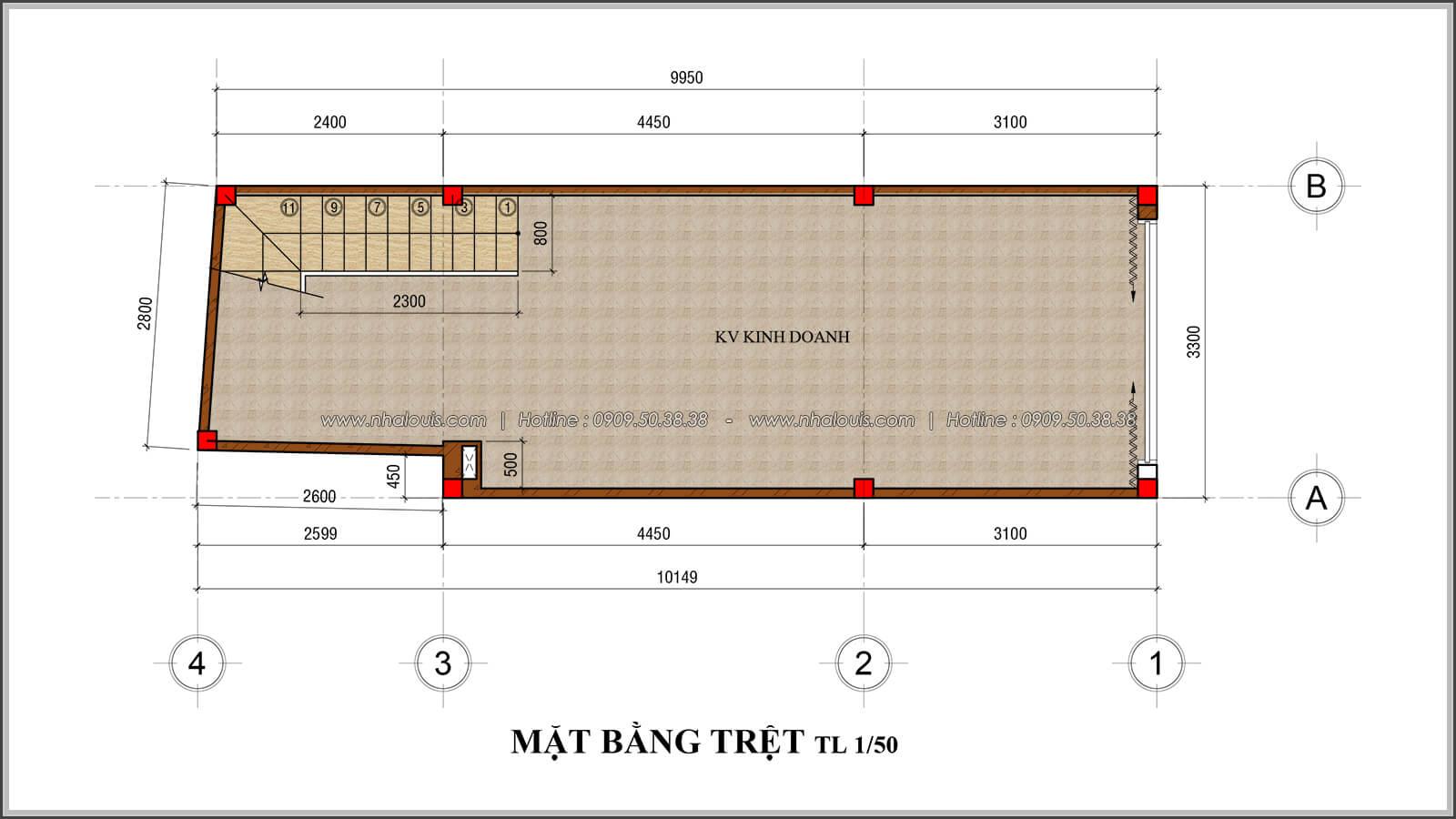 Mặt bằng trệt thiết kế nhà 4x10 kết hợp kinh doanh tại chợ Tân Bình - 04