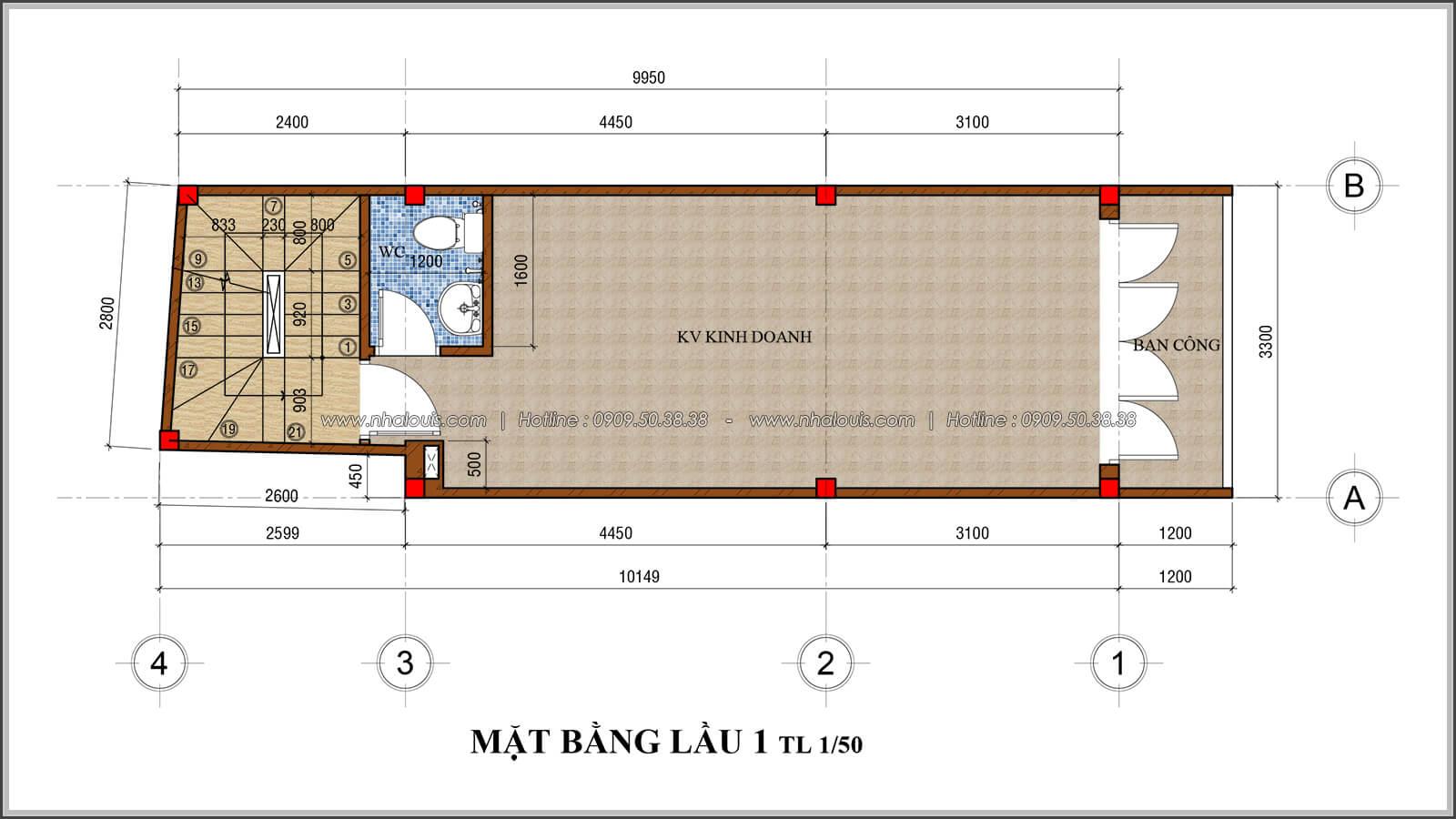 Mặt bằng lầu 1 thiết kế nhà 4x10 kết hợp kinh doanh tại chợ Tân Bình - 05