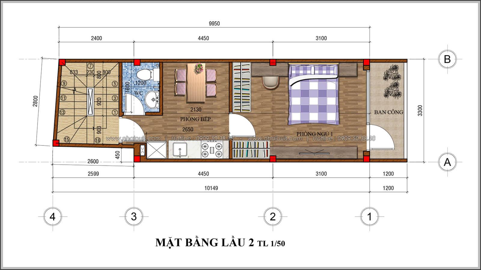 Mặt bằng lầu 2 thiết kế nhà 4x10 kết hợp kinh doanh tại chợ Tân Bình - 06