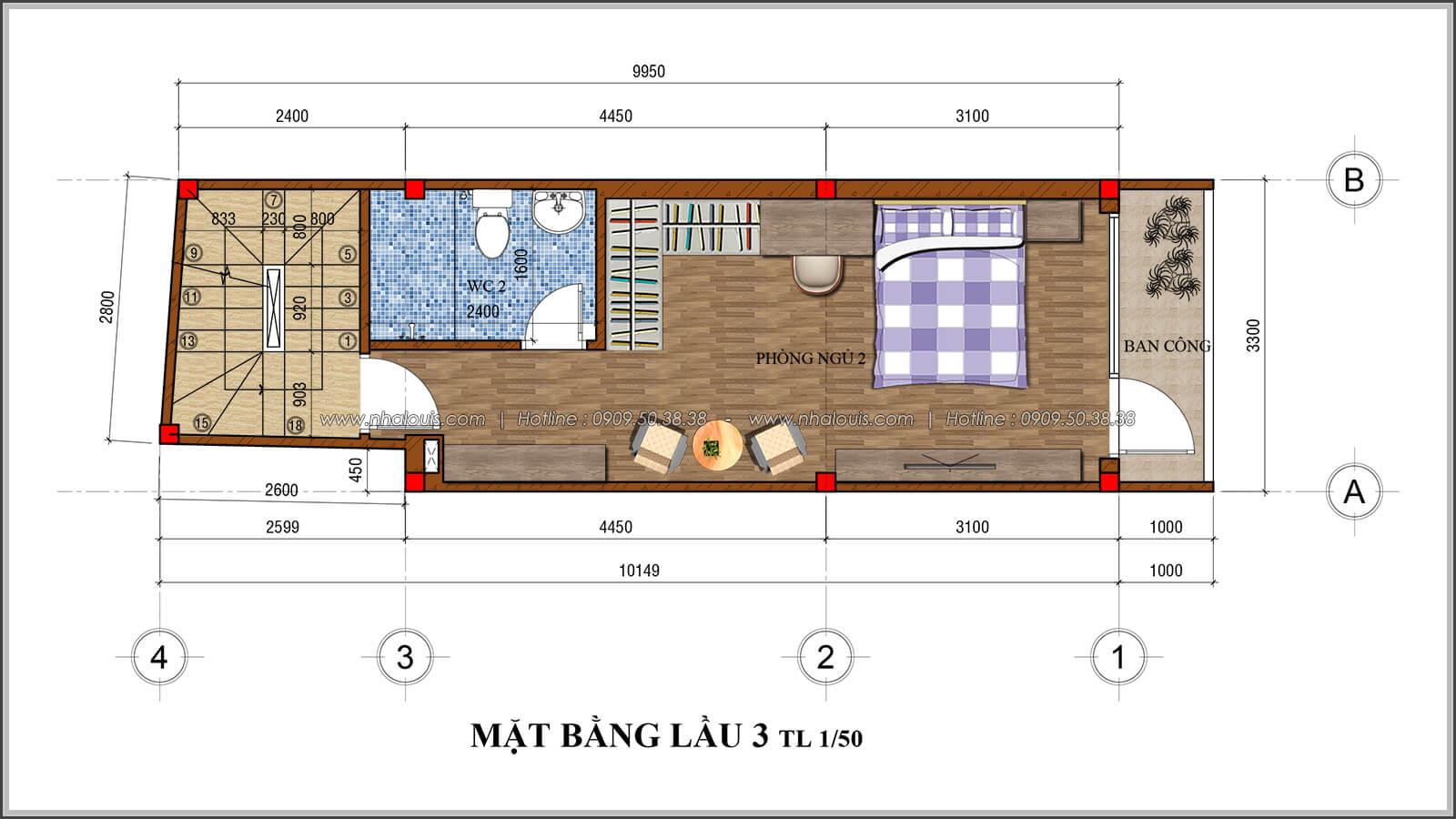Mặt bằng lầu 3 thiết kế nhà 4x10 kết hợp kinh doanh tại chợ Tân Bình - 07