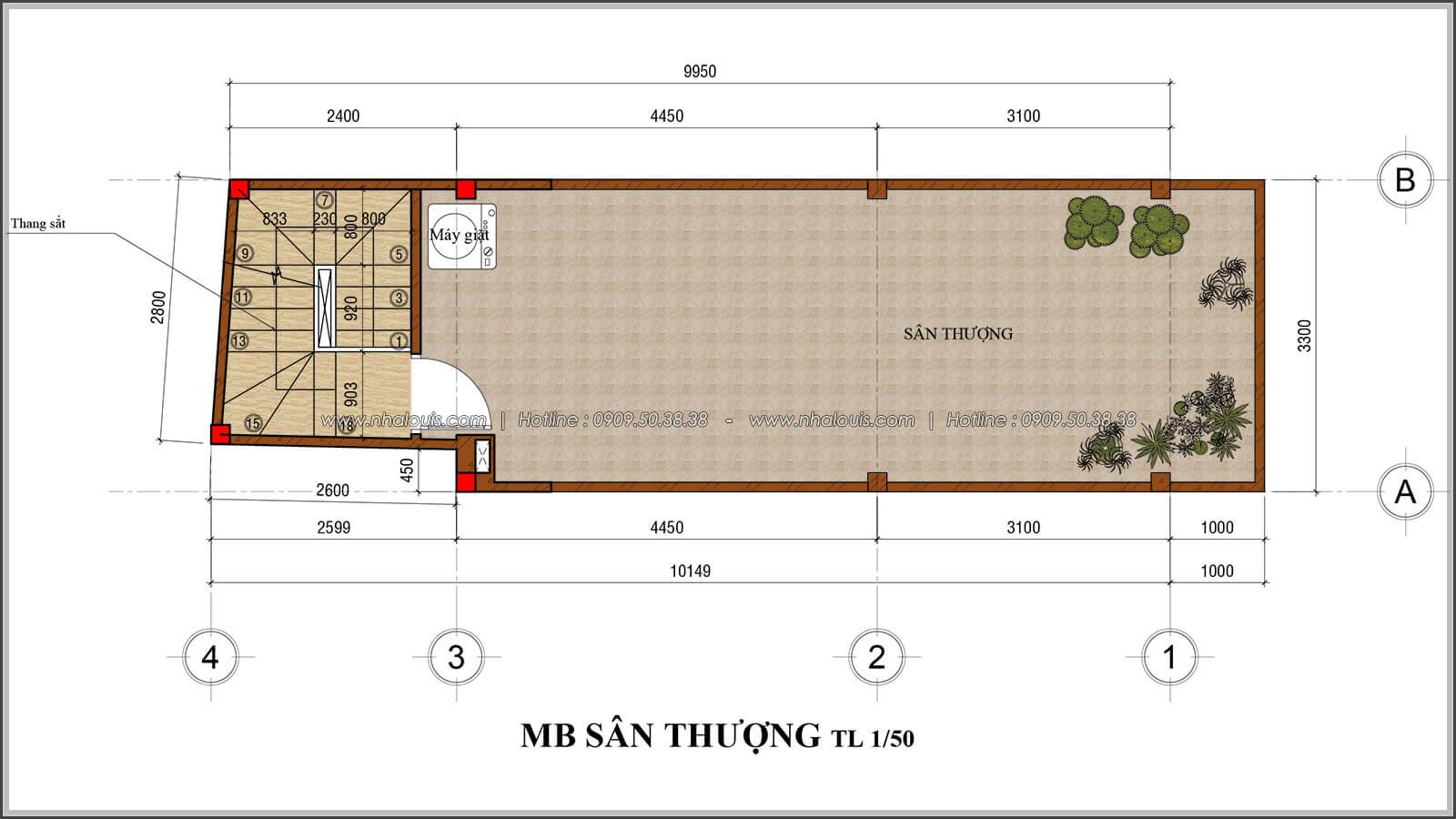 Mặt bằng sân thượng thiết kế nhà 4x10 kết hợp kinh doanh tại chợ Tân Bình - 08