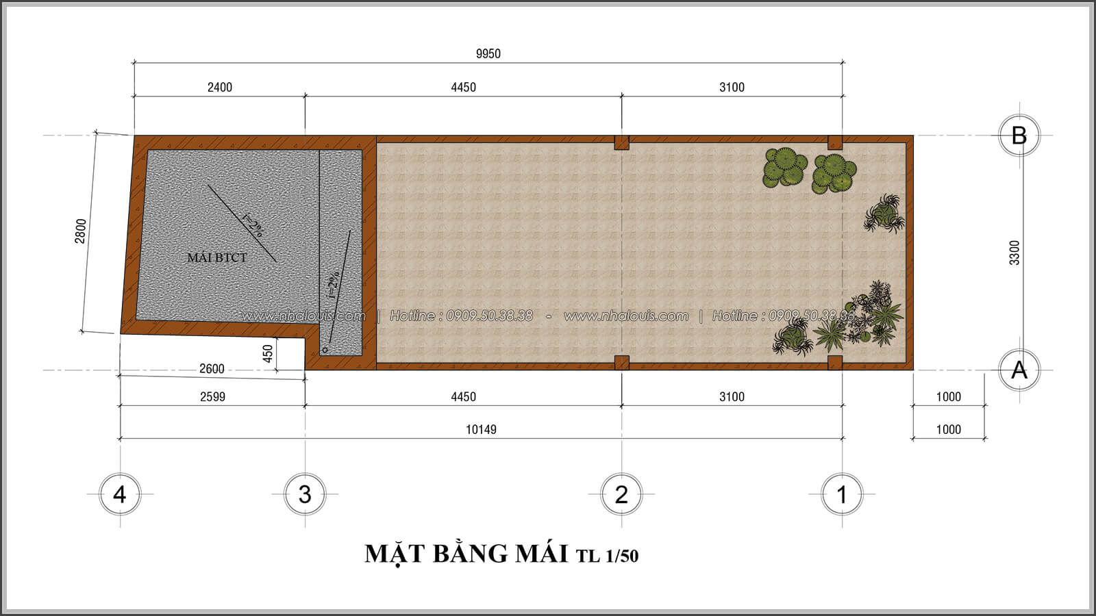 Mặt bằng mái thiết kế nhà 4x10 kết hợp kinh doanh tại chợ Tân Bình - 09