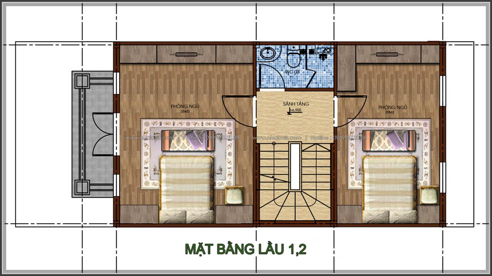 Mặt bằng tầng 1, tầng 2 Thiết kế nhà phố kiểu Pháp với mặt tiền 6m hoành tráng tại Bình Tân - 12