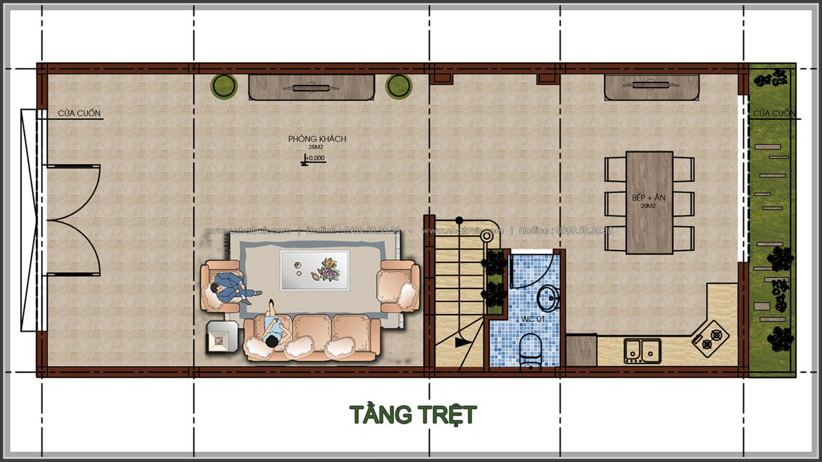 Mặt bằng tầng trệt Thiết kế nhà phố kiểu Pháp với mặt tiền 6m hoành tráng tại Bình Tân - 3