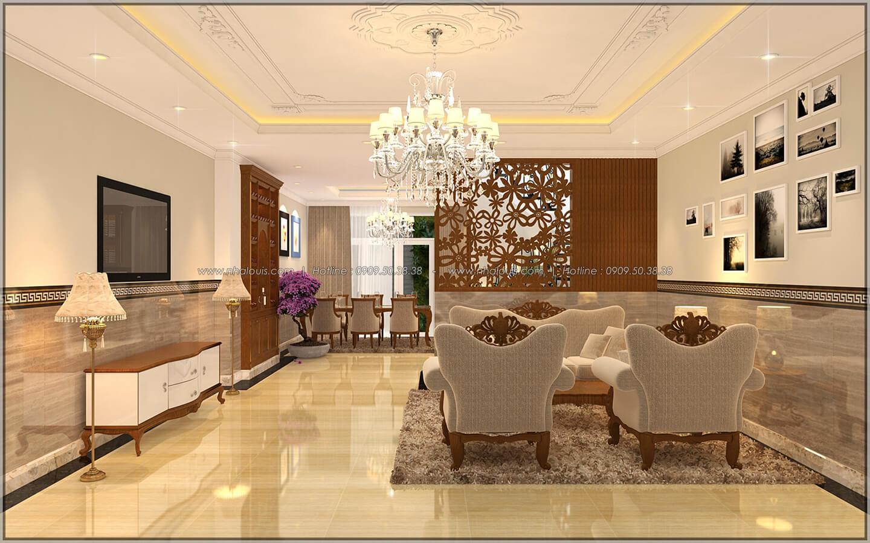 Phòng khách Thiết kế nhà phố kiểu Pháp với mặt tiền 6m hoành tráng tại Bình Tân - 4
