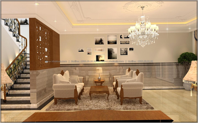 Phòng khách Thiết kế nhà phố kiểu Pháp với mặt tiền 6m hoành tráng tại Bình Tân - 5