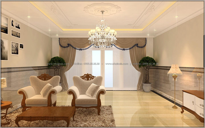 Phòng khách Thiết kế nhà phố kiểu Pháp với mặt tiền 6m hoành tráng tại Bình Tân - 6