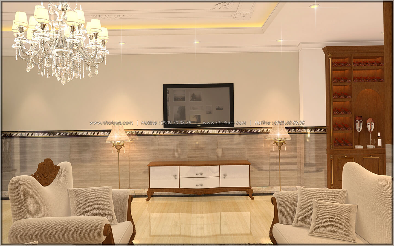 Phòng khách Thiết kế nhà phố kiểu Pháp với mặt tiền 6m hoành tráng tại Bình Tân - 7