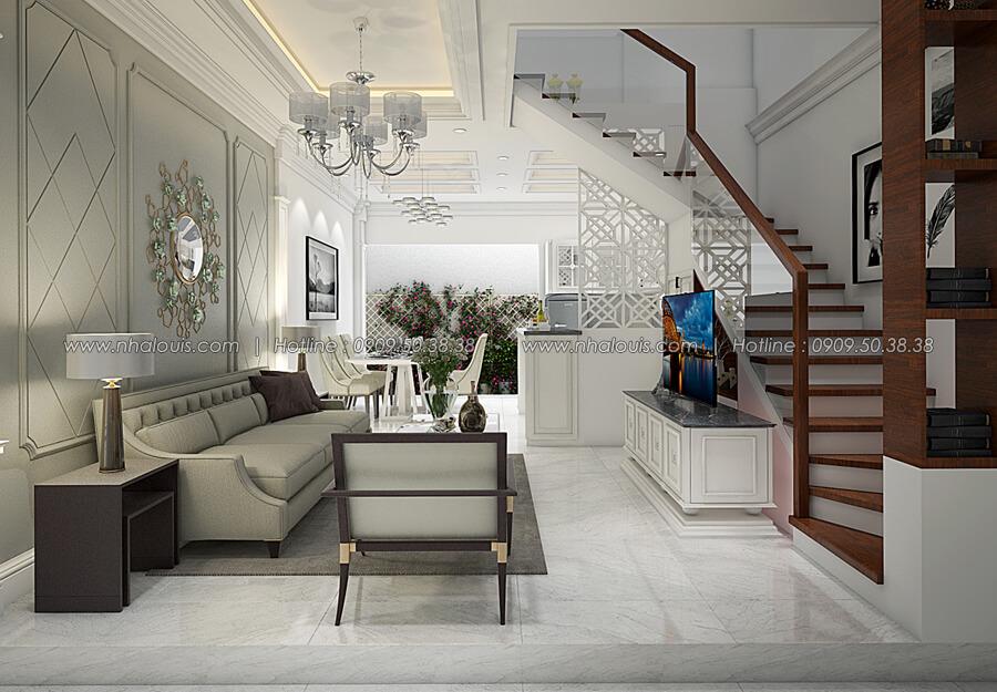 Phòng khách Thiết kế nhà tân cổ điển 2 tầng đẹp ngỡ ngàng tại Bình Dương - 05