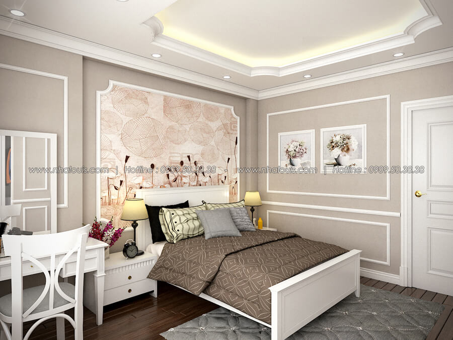 Phòng ngủ Thiết kế nhà tân cổ điển 2 tầng đẹp ngỡ ngàng tại Bình Dương - 12