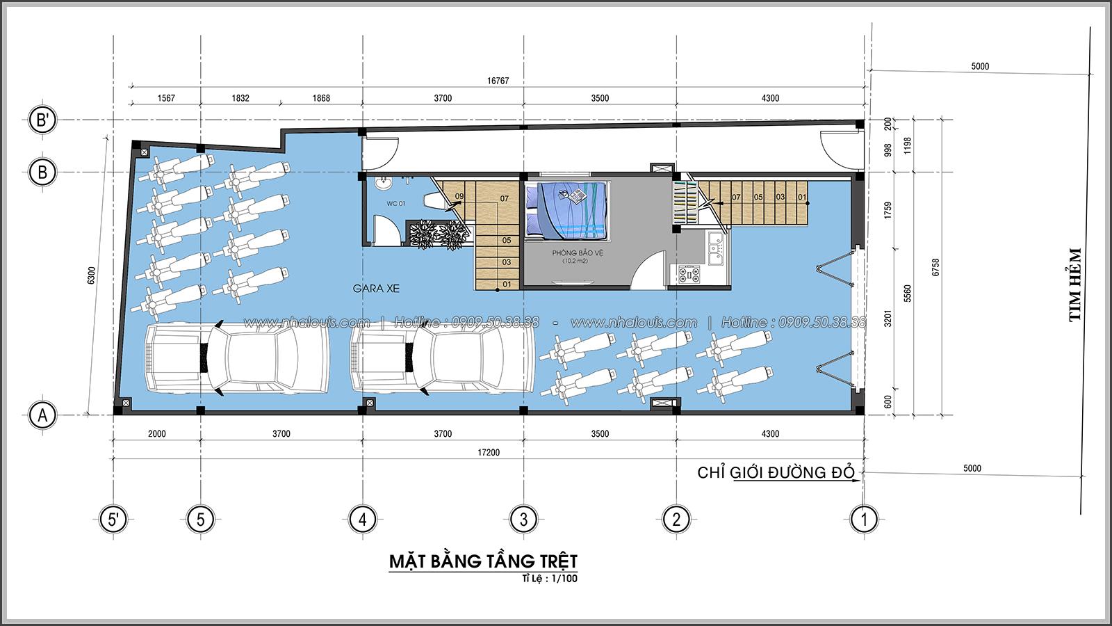 Mặt bằng tầng trệt Thiết kế nhà trọ cho thuê cao cấp tiết kiệm chi phí và hiệu quả tại Tân Bình - 04