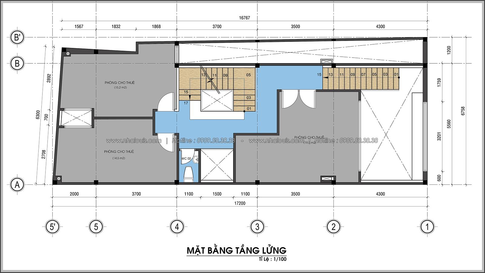 Mặt bằng tầng lửng Thiết kế nhà trọ cho thuê cao cấp tiết kiệm chi phí và hiệu quả tại Tân Bình - 05