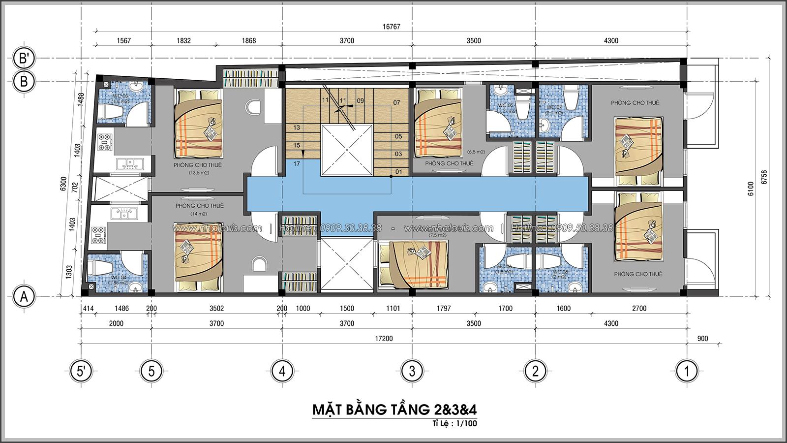 Mặt bằng tầng 2, tầng 3, tầng 4 Thiết kế nhà trọ cho thuê cao cấp tiết kiệm chi phí và hiệu quả tại Tân Bình - 06