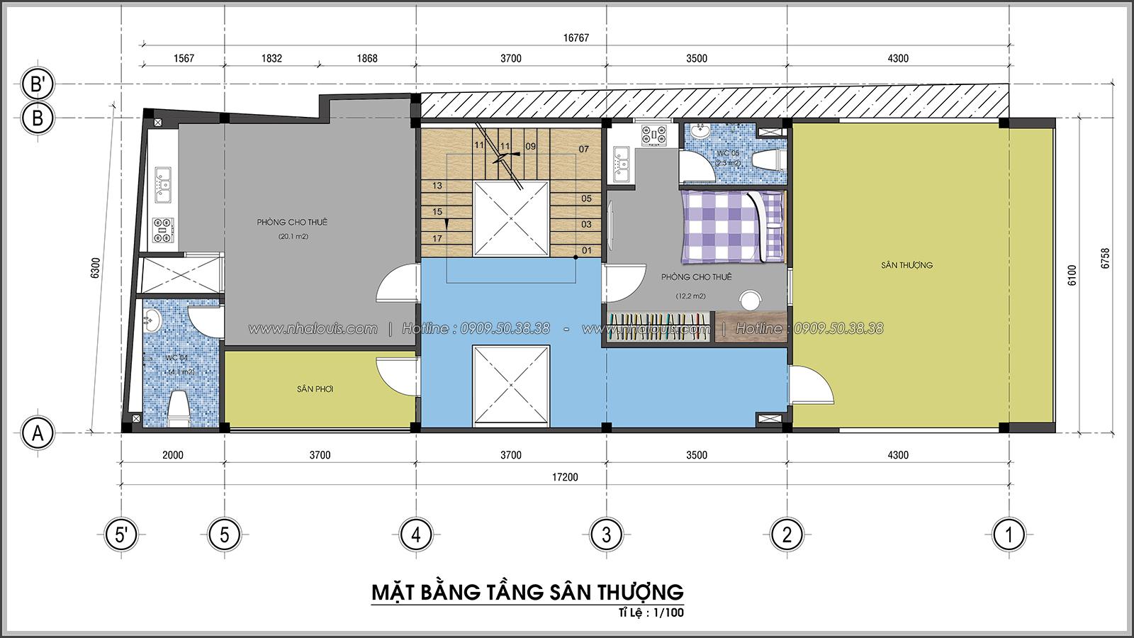 Mặt bằng sân thượng Thiết kế nhà trọ cho thuê cao cấp tiết kiệm chi phí và hiệu quả tại Tân Bình - 07