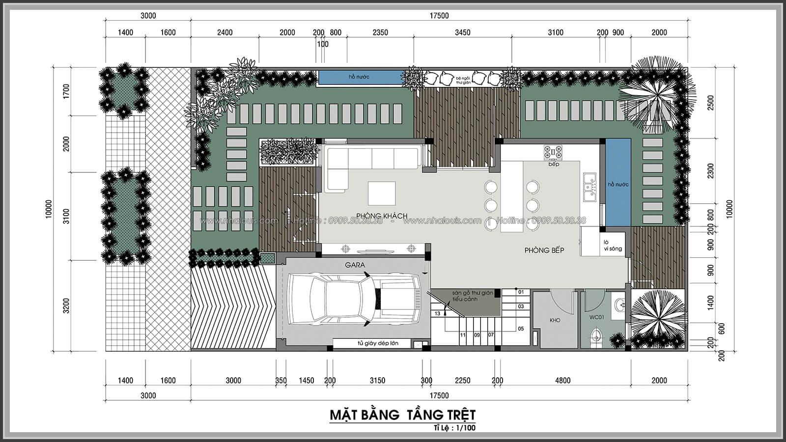 Mặt bằng tầng trệt Thiết kế nội thất biệt thự cao cấp Lucasta Villa 5 sao tại Quận 9 - 4