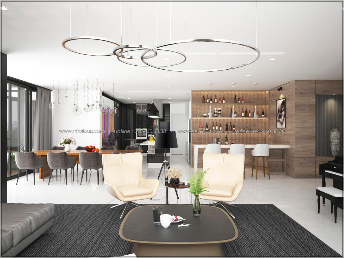 Phòng khách Thiết kế nội thất chung cư hiện đại tại dự án căn hộ cao cấp Sunrise City - 08