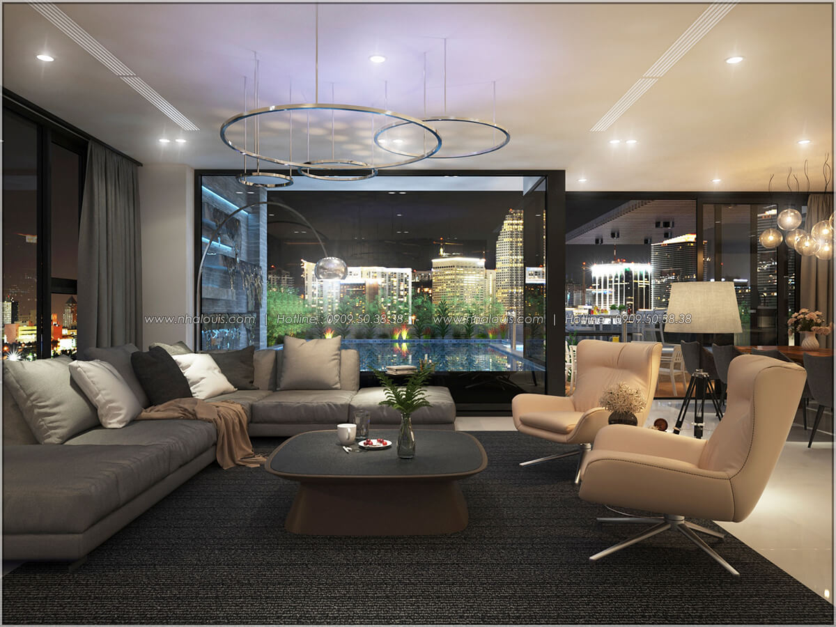 Phòng khách Thiết kế nội thất chung cư hiện đại tại dự án căn hộ cao cấp Sunrise City - 23