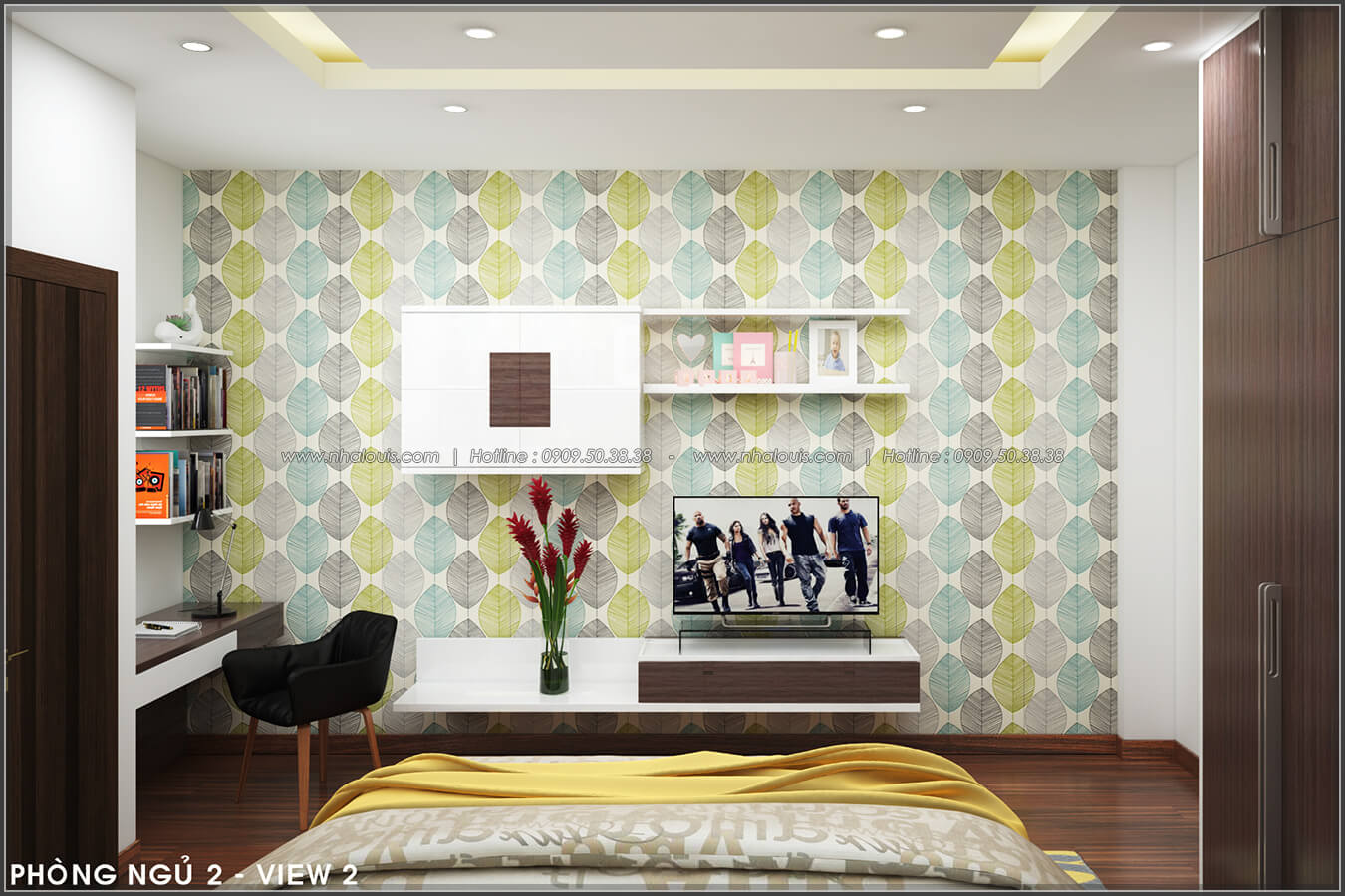 Phòng ngủ Thiết kế nội thất nhà phố đẹp tone gỗ ấm áp và sang trọng quận Tân Bình - 11