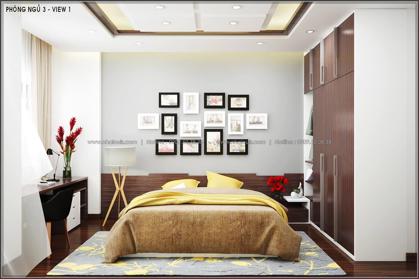 Phòng ngủ Thiết kế nội thất nhà phố đẹp tone gỗ ấm áp và sang trọng quận Tân Bình - 12
