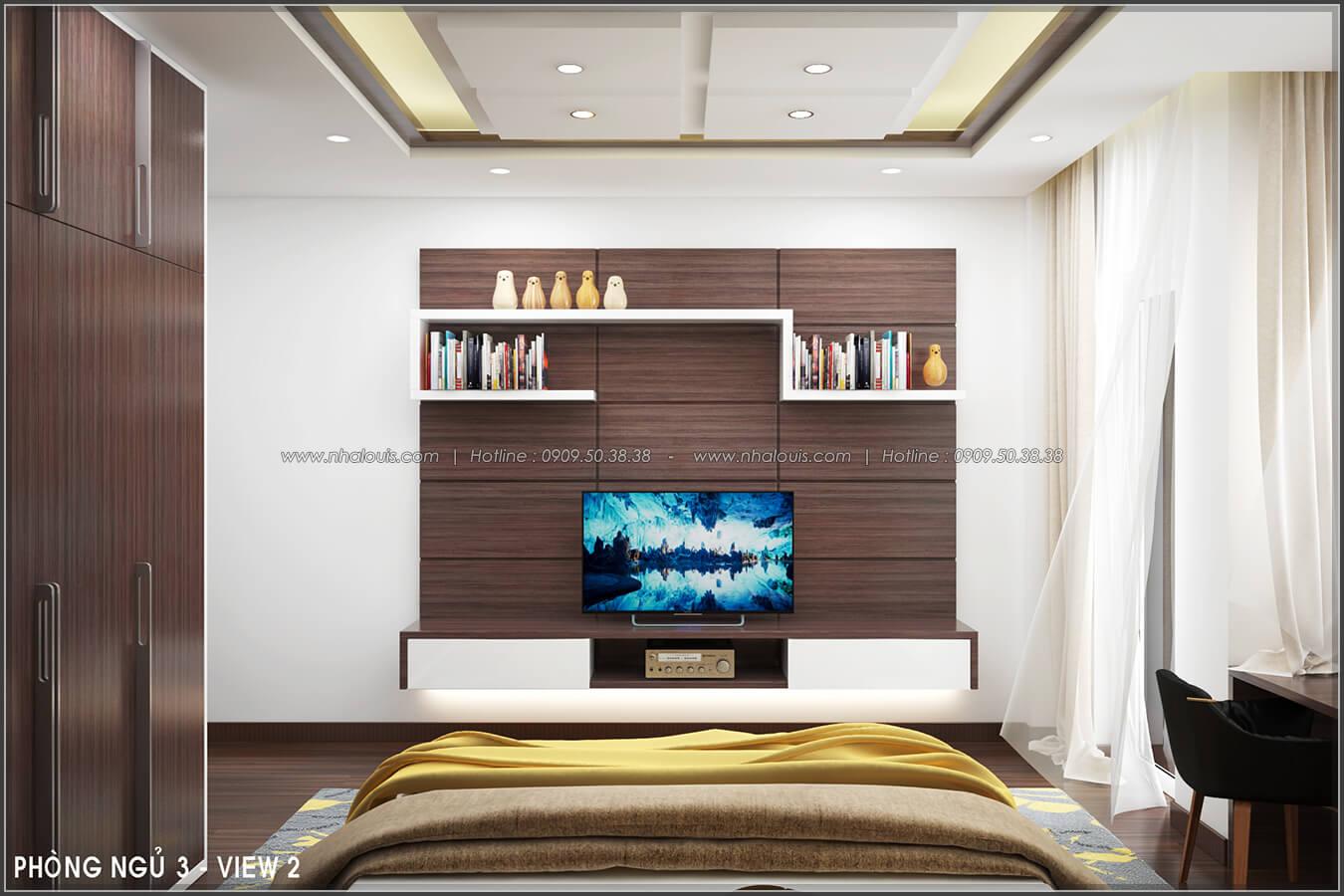 Phòng ngủ Thiết kế nội thất nhà phố đẹp tone gỗ ấm áp và sang trọng quận Tân Bình - 13