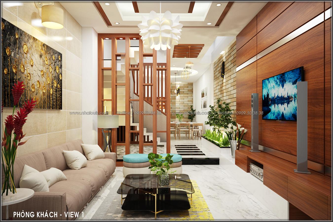 Thiết kế nội thất nhà ống đẹp tone gỗ ấm áp và sang trọng quận Tân Bình - 3