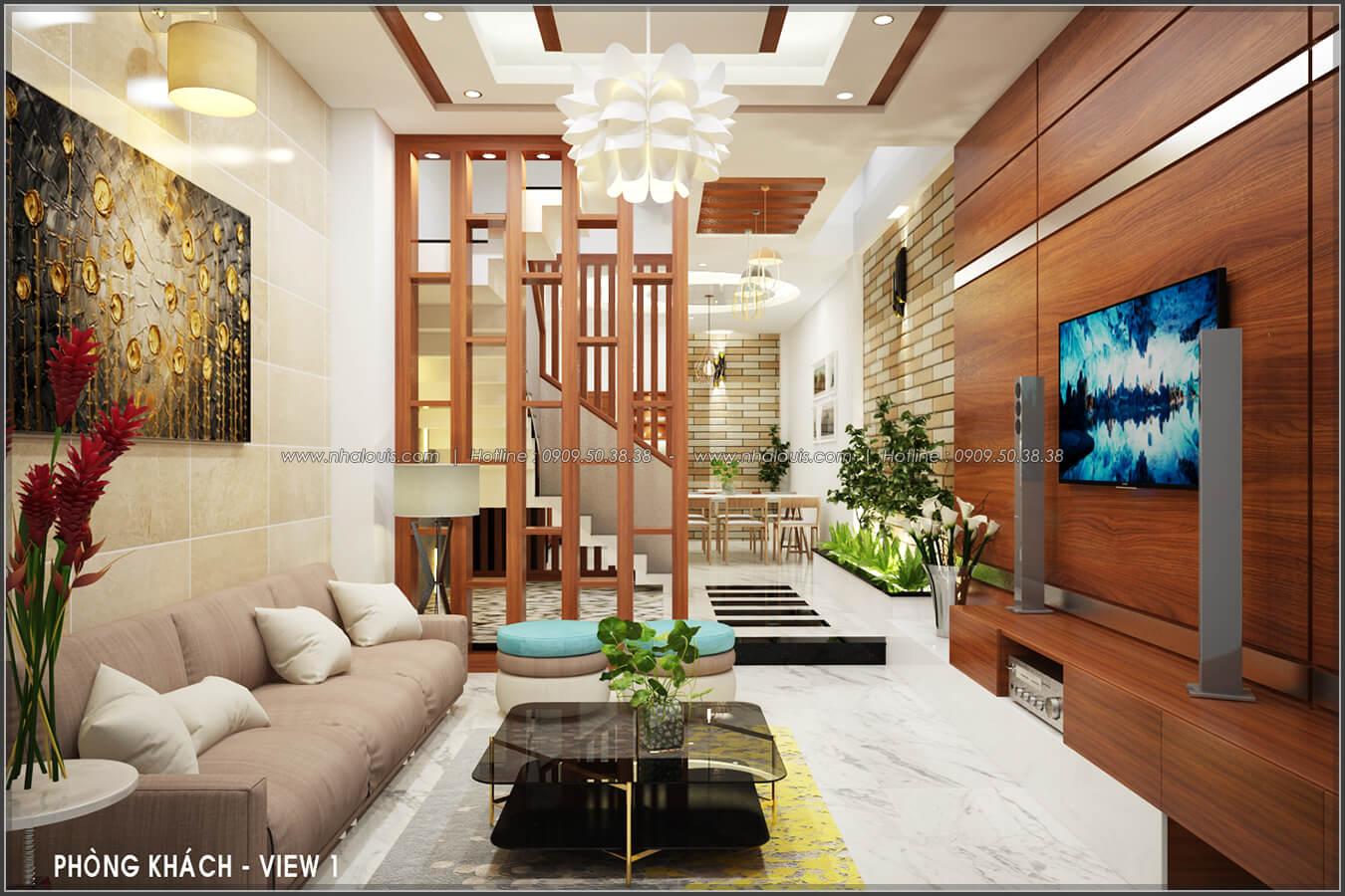 Phòng khách Thiết kế nội thất nhà phố đẹp tone gỗ ấm áp và sang trọng quận Tân Bình - 3