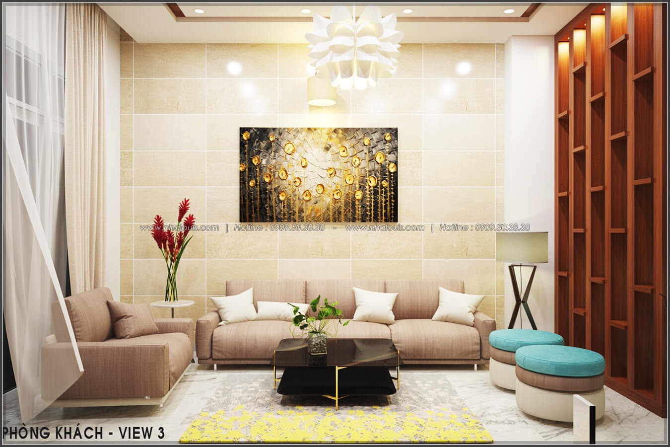 Phòng khách Thiết kế nội thất nhà phố đẹp tone gỗ ấm áp và sang trọng quận Tân Bình - 4