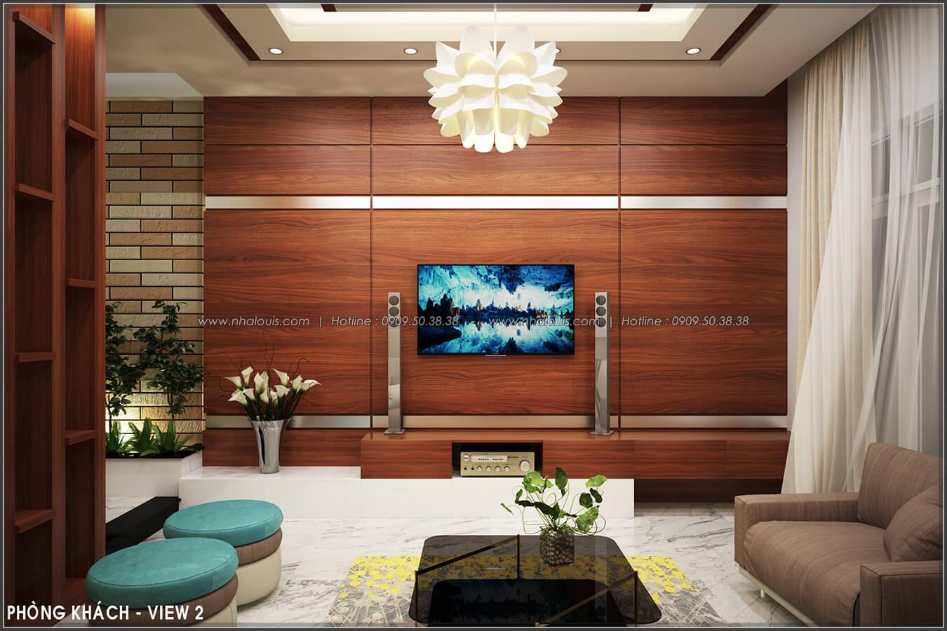Phòng khách Thiết kế nội thất nhà phố đẹp tone gỗ ấm áp và sang trọng quận Tân Bình - 5