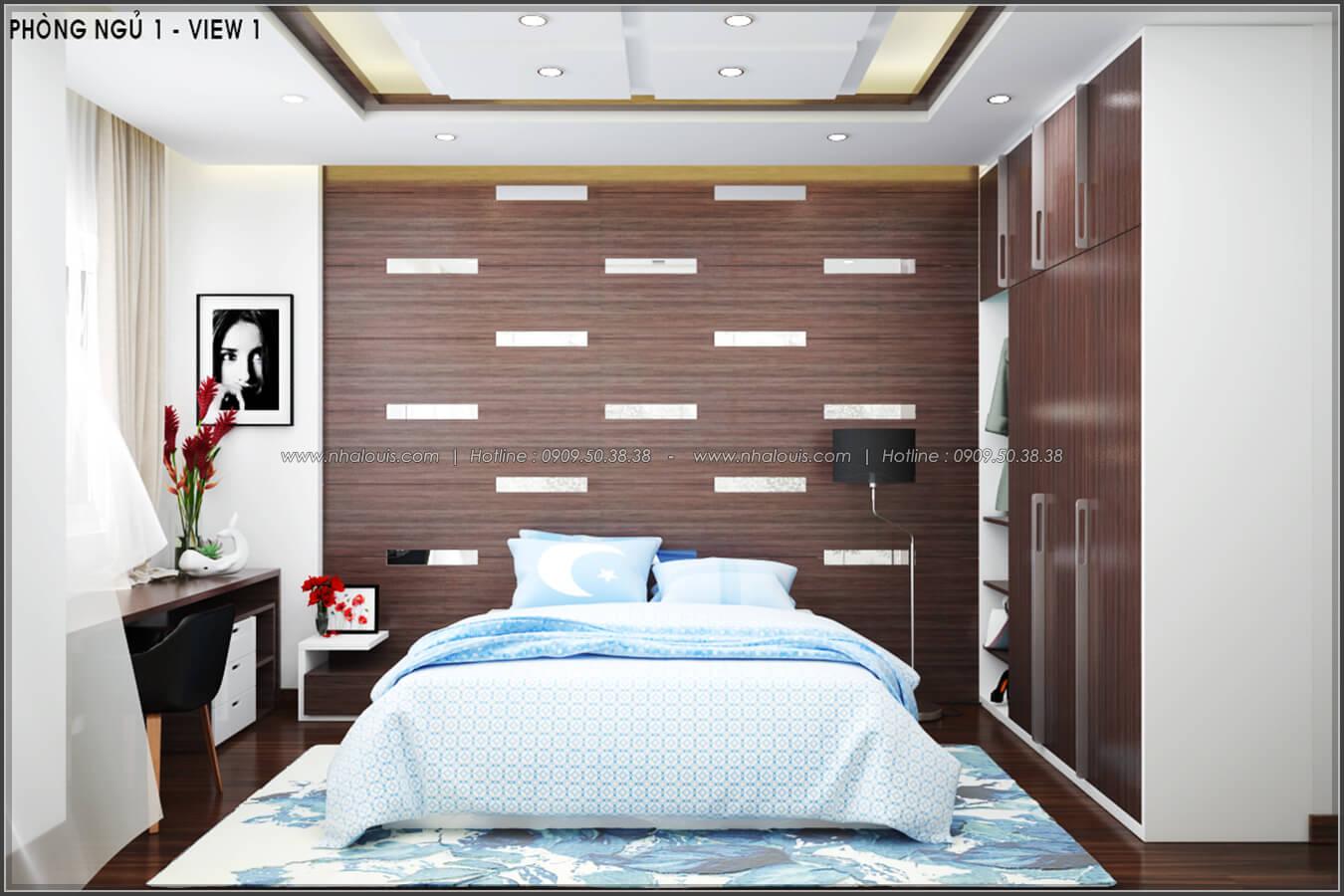 Phòng ngủ Thiết kế nội thất nhà phố đẹp tone gỗ ấm áp và sang trọng quận Tân Bình - 8