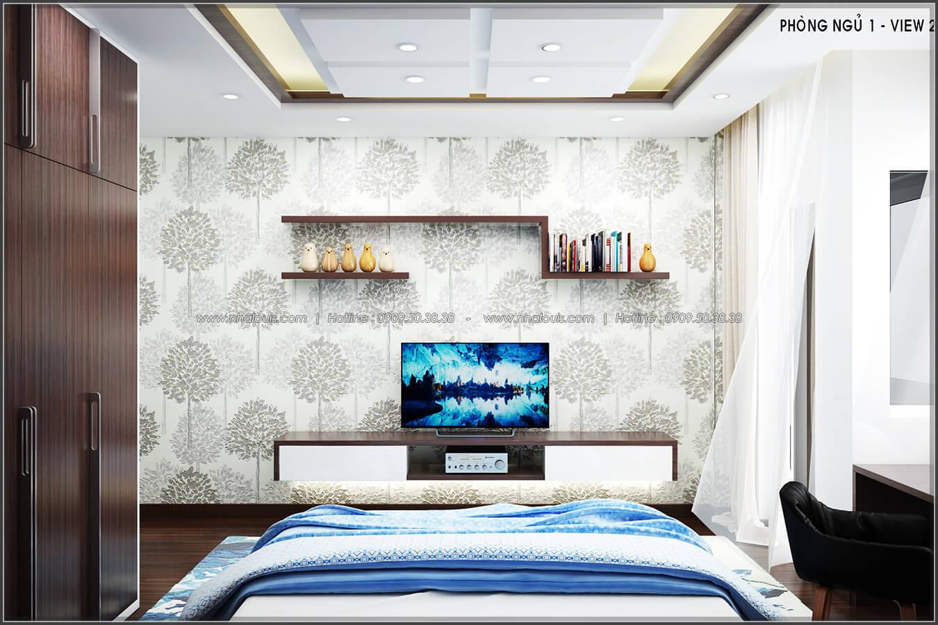 Phòng ngủ Thiết kế nội thất nhà phố đẹp tone gỗ ấm áp và sang trọng quận Tân Bình - 9