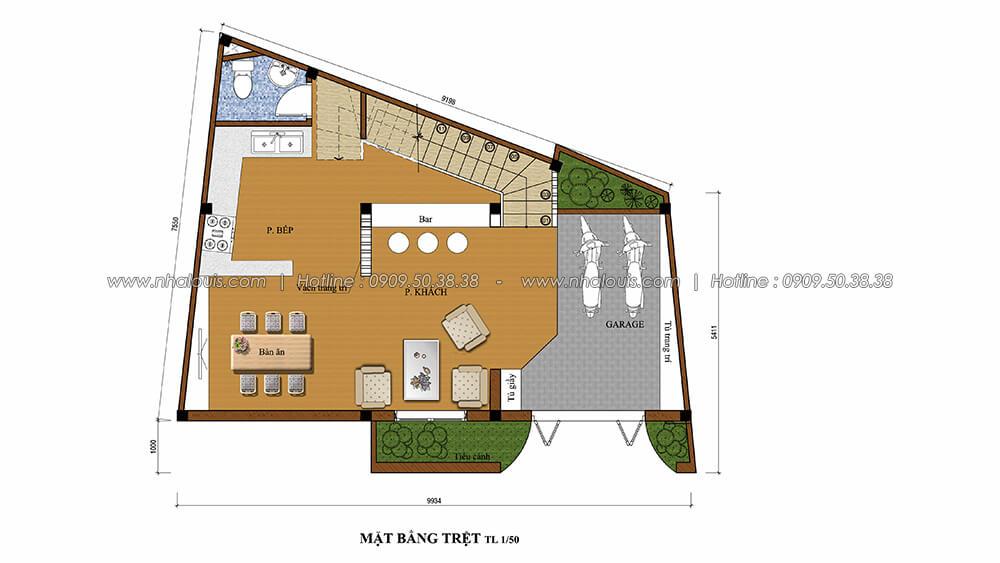 Mặt bằng trệt nội thất tân cổ điển cho nhà phố đẳng cấp tại Phú Nhuận - 3