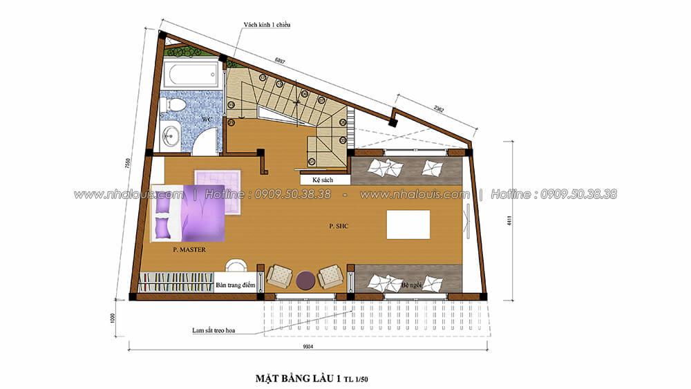 Mặt bằng lầu 1 thiết kế nội thất tân cổ điển cho nhà phố đẳng cấp tại Phú Nhuận - 4