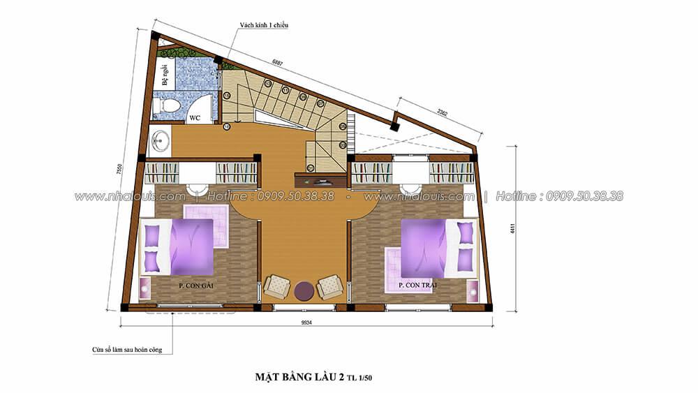 Mặt bằng lầu 2 thiết kế nội thất tân cổ điển cho nhà phố đẳng cấp tại Phú Nhuận - 5